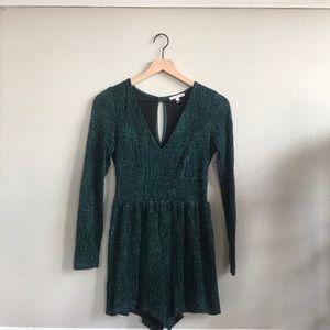 Emerald Green Long sleeve playsuit